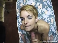 Dissolute golden-haired bitch with slender body screwed well by her dude