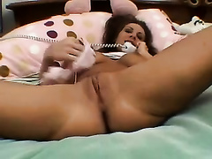 Flirtatious coed always calls her BF for some phone sex
