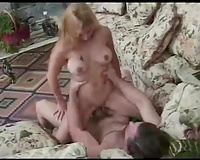 Massive meatballs of this hawt blondie swing around as this babe rides big wang