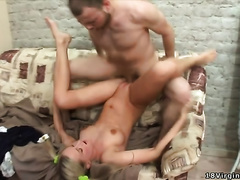 Skinny golden-haired receives her fur pie group-fucked unfathomable in many poses