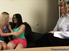 Brunette and golden-haired legal age teenager chicks would like to fondle every other