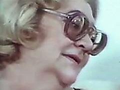 Blonde granny and excited dark brown share my weenie in homemade movie scene