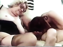 Blonde granny and excited dark brown share my weenie in homemade movie scene