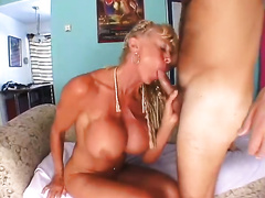 Tall and leggy aged harlot with big breasts acquires fucked doggy style