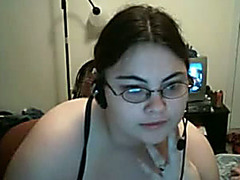 Chubby and youthful nerdy hottie with astounding boobies