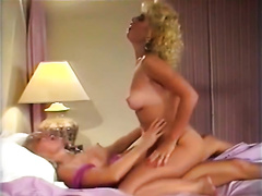 Curly haired horny babes imitate cowgirl pose fuck