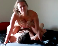 Busty girlfriend has intensive sex and cum in throat