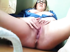 Blonde milf shows her smooth muff and fingers it ardently