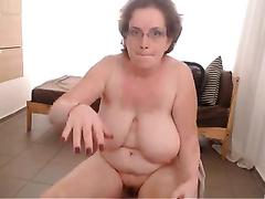 Foot fetish web camera movie scene with a bulky older skank