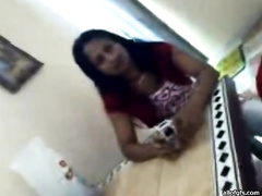 Cute Indian legal age teenager is screwed missionary style in steamy non-professional fuck movie