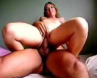 Beautiful and chunky Brazilian white wife rides my pecker with her arse