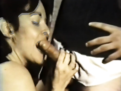 Duet of kinky dark brown lesbo take up with the tongue every other's messy hairy twats