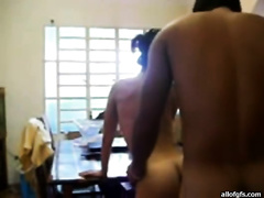 Dazzling Indian slutwife sucks large sausage in the kitchen previous to getting screwed missionary style