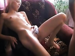 Skinny blond sucks a prick and takes a ride on it