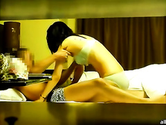 Awesome oral-sex from sexy and perverted mulatto babe in her bedroom