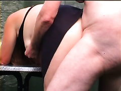 Chubby golden-haired dirty slut wife drilled in doggy style in public place