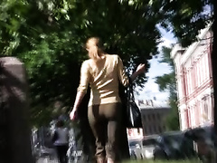 Amateur Russian whore in public urinates in her panties