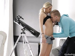 Awesome blond makes out with a stud and gives him a oral-sex