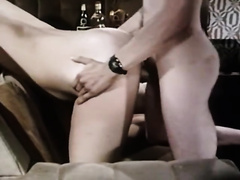 A golden-haired and a brunette hair acquire drilled in classic porn movie