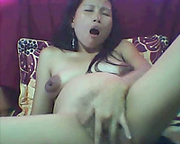 Kinky filipina groans loudly whilst fingering her cunt in web camera solo