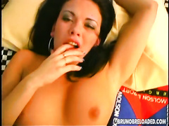 Alluring non-professional brunette hair acquires her coochie smashed in POV episode