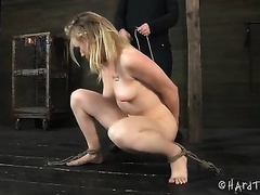 Sexy blond sweetie with great slender body bounded and abased