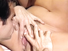 Big boobed horny golden-haired acquires her hairy cookie eaten