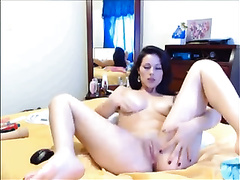 Shapely cam whore strips and masturbates for me