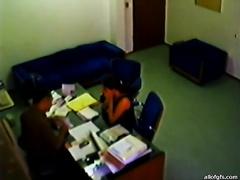 Hidden camera catches the boss seducing fresh employee for sex