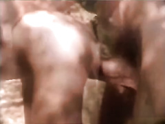Provocative ladies turn a stud on and fuck him outdoors