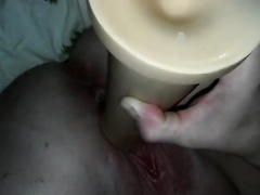 Dirty older girl stands upside down and masturbates with a sex toy