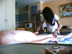 Cute swap student from Thailand gives me awesome blowjob