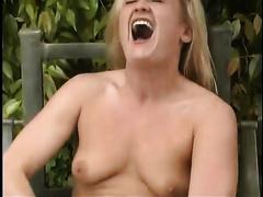 Chunky and insatiable blond floozy masturbates like a freak