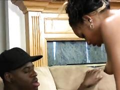 Ebony skank with oiled wazoo sucks and rides a BBC indoors