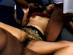 Beautiful non-professional Indian skank group-fucked on the ottoman