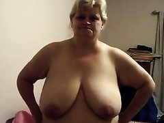 My chunky golden-haired husband shows her biggest wobblers for the web camera