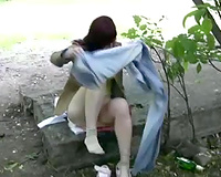 Amateur BBC slut in jeans pees in public and rushes to the park