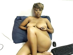 Chubby ebony with hanging milk sacks acquires nasty in front of a cam