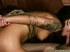 Short haired non-professional wife is bound up and gangbanged from behind