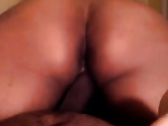 My large butted girlfriend rides me ruthlessly in reverse cowgirl position