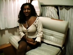 Dissolute raved haired doxy from India sucks hard ramrod after masturbation