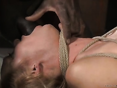 Big breasted bounded black cock slut is face drilled by her balck mentor