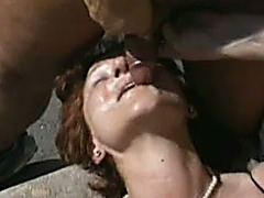 Slutty white slut acquires her love tunnel team-fucked hard by a group