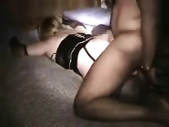 Big-assed golden-haired receives her twat smashed by my dark buddy