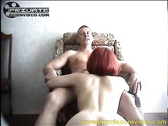Marvelous redhead Married slut with pale skin has sex after shower
