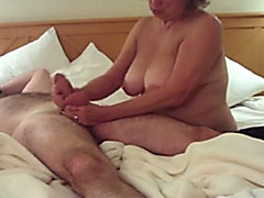 My BBC slut with saggy tits knows how to give a nice cook jerking
