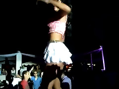 Sizzling hawt Latina dancer in short petticoat knows how to make a dude excited