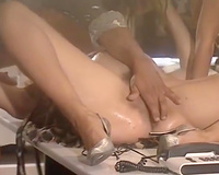 Two fleshly doxies have a fun foursome sex in astonishing retro sex scene