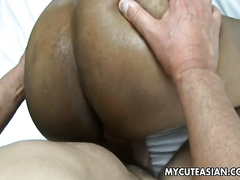 Thay hooker enjoys getting her muff gangbanged doggy style