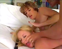 Two extremely sexually excited angels with well stacked bodies nailed in three-some